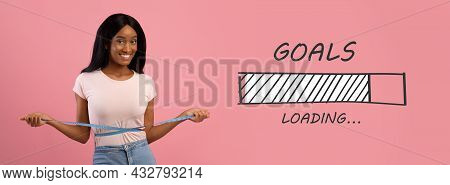 Slim Black Lady Measuring Waist, Happy With Slimming Diet Results Over Pink Background, Collage With
