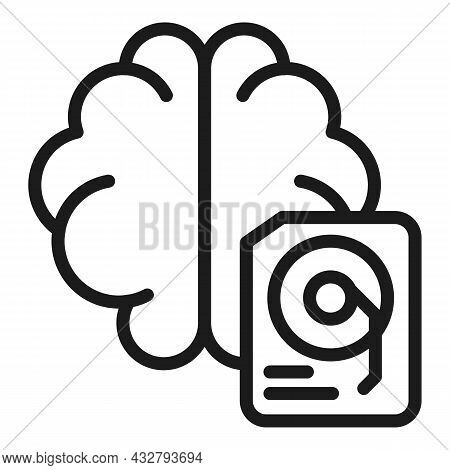 Brain Drive Icon Outline Vector. Mind Cloud. Storage Memory