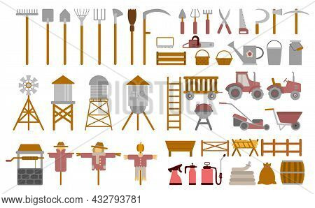 Farm Set. Agriculture Tools And Utensils For Growing Wheat, Corn