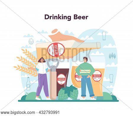Beer Concept. Glass Bottle And Vintage Mug With Craft Alcohol Drink