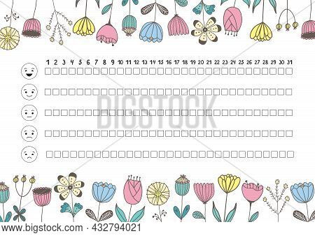 Printable A4 Paper Sheet With Hand Drawn Flowers And To Fill Planner Of Mood Tracker For Bullet Jour