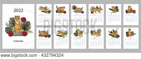 Tiger 2022 Calendar. Chinese New Year Printable Template. Cartoon Animal Date Month Holiday Vector D