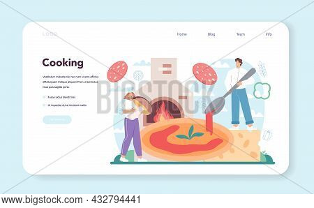 Pizzeria Web Banner Or Landing Page. Chef Cooking Tasty Delicious Pizza