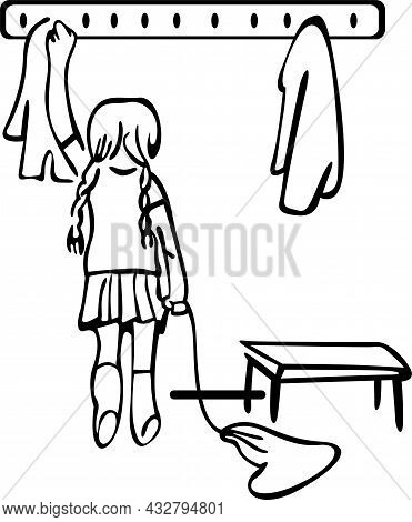 School Cloakroom With Hangers For Clothes. The Girl Stands In Front Of The Hanger And Holds A Woren