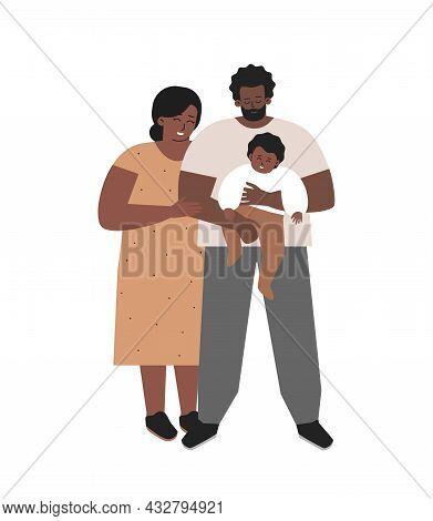 Vector Isolated Flat Illustration. African American Foster Father Holds In His Arms Adopted Child. M