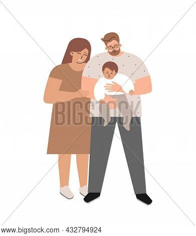 Vector Isolated Flat Illustration With Happy Family. European Foster Father Hugs Adopted Baby. Mothe