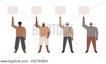 Vector Isolated Flat Illustration. Set With Picket And Strike Of African American Guys Holding Poste