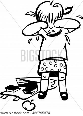 At School, A Girl Cries In The Corridor. On The Ground, There Is A Satchel With Books Spilled Out