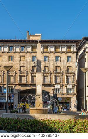 Palma De Mallorca, Spain; September 11 2021: General View Of The Plaza De La Reina Or Also Called Pl