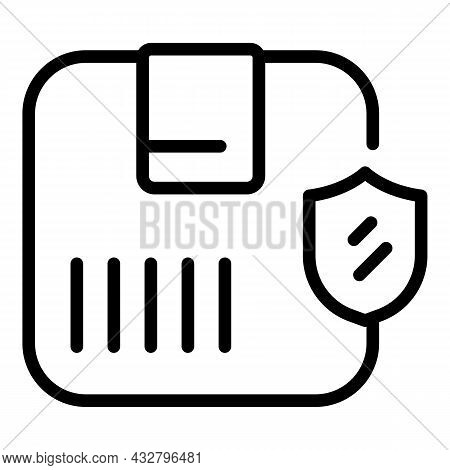 Shield Package Icon Outline Vector. Delivery Shipment. Order Parcel