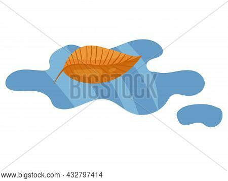 Autumn Yellow Leaf Floating In A Puddle Of Water On A White Background. Autumn Season, Wet Weather,