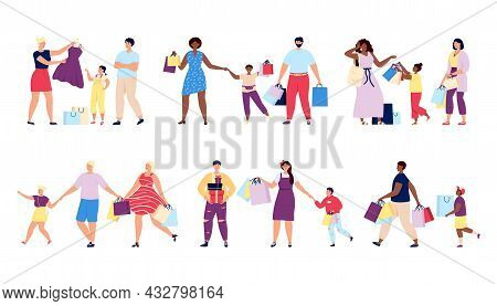 Family Shopping. Fashion Store, People Clothes Buy. Boutique Customer, Happy Friends In Shop. Retail