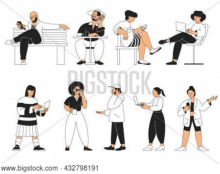 People With Gadget. Man Typing On Phone, Person Working With Laptop. Mobile Adults, Cartoon Teens Wi