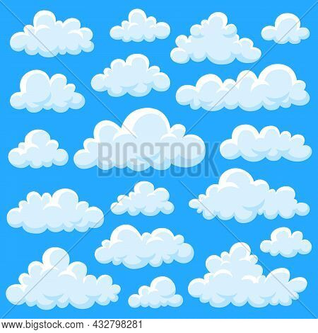 Isolated Cartoon Clouds. White Fluffy Cloud, Heaven Graphics Design Elements. Forecast, Comic Smoke