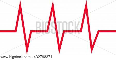 Cardiogram, Heartbeat Graph. Vector Image Of The Accelerated Heart Rate. Red Lines. Flat Isolated He