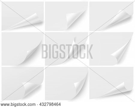 Curled Corners Blank Sheets. Isolated Paper Mockup, Curl Note Page. Turn Up Edge, Realistic Notes St