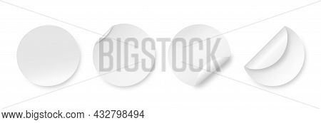 White Blank Round Stickers. Curved Corner Circle Label, Wrapped Mockup. Post Tags, Realistic Curl Ed
