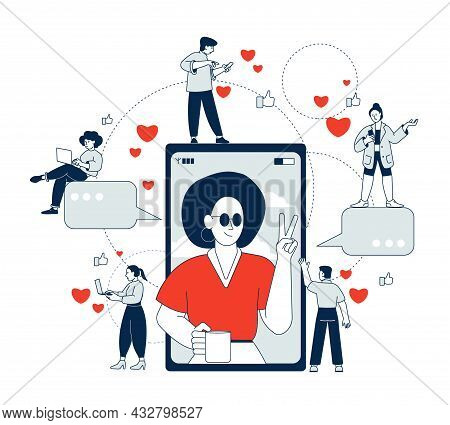 Influencer Marketing. Social Influences, Women Popular In Media. Digital Person In Smartphone And Au