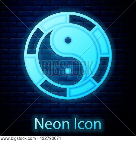 Glowing Neon Yin Yang Symbol Of Harmony And Balance Icon Isolated On Brick Wall Background. Vector