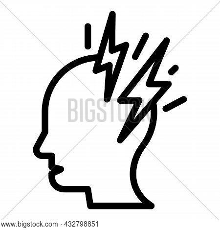 Headache Disorder Icon Outline Vector. Brain Anxiety. Dizzy Head