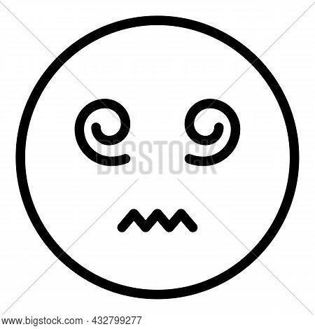 Exhausted Dizziness Icon Outline Vector. Dizzy Head. Headache Pressure