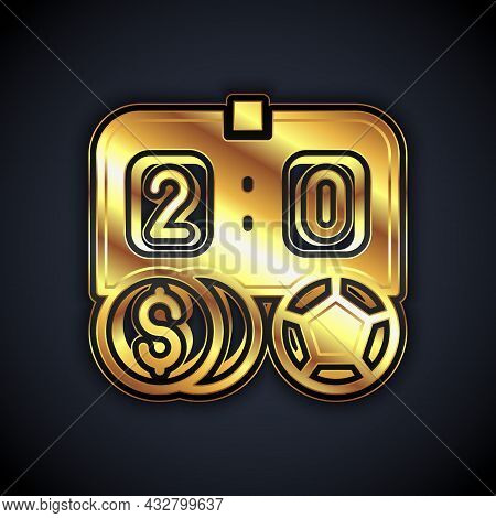 Gold Soccer Football Betting Money Icon Isolated On Black Background. Football Bet Bookmaker. Soccer
