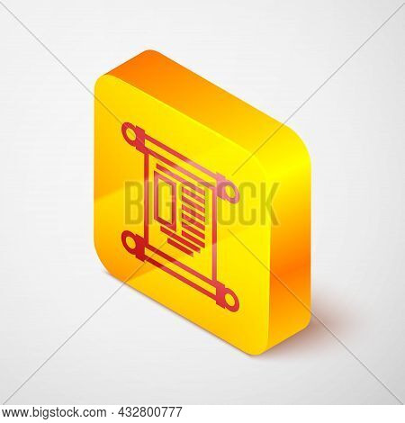 Isometric Line Decree, Paper, Parchment, Scroll Icon Icon Isolated On Grey Background. Chinese Scrol