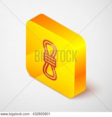 Isometric Line Climber Rope Icon Isolated On Grey Background. Extreme Sport. Sport Equipment. Yellow