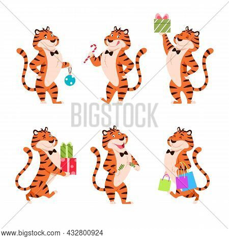 Cartoon Tigers Set. Holiday Standing Characters For New Year 2022. Adorable Flat Chinese Symbol. Smi