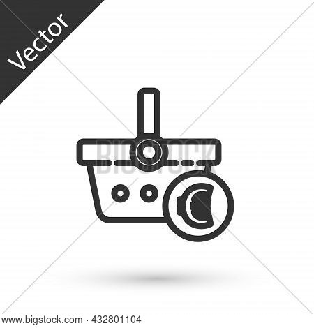 Grey Line Shopping Basket And Euro Symbol Icon Isolated On White Background. Online Buying Concept.