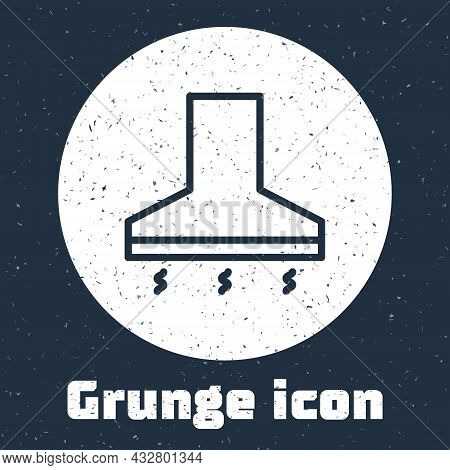 Grunge Line Kitchen Extractor Fan Icon Isolated On Grey Background. Cooker Hood. Kitchen Exhaust. Ho