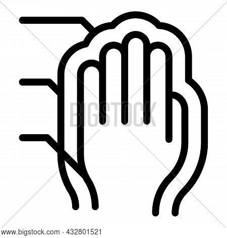 Palm Authorization Icon Outline Vector. Biometric Recognition. Fingerprint Scan