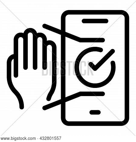 Phone Palm Scanning Icon Outline Vector. Hand Scan. Biometric Identification