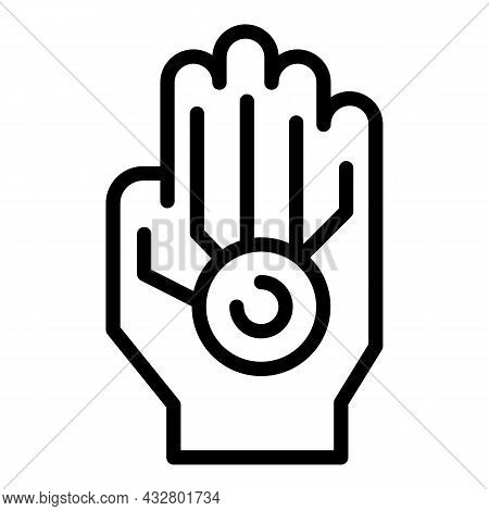 Privacy Palm Recognition Icon Outline Vector. Biometric Scan. Fingerprint Id