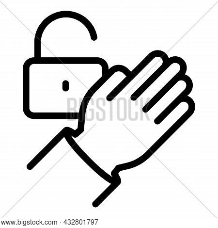 Lock Palm Scanning Icon Outline Vector. Biometric Scan. Identity Recognition