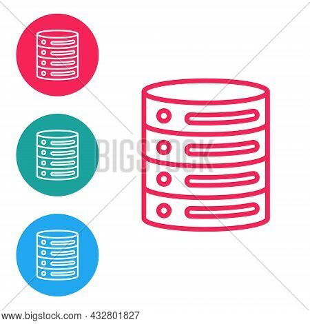 Red Line Server, Data, Web Hosting Icon Isolated On White Background. Set Icons In Circle Buttons. V