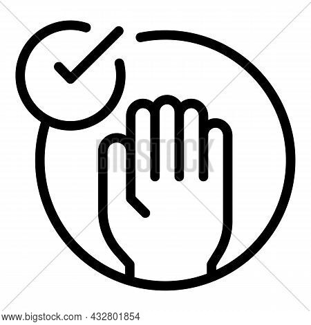 Accept Palm Id Icon Outline Vector. Biometric Recognition. Scan Hand