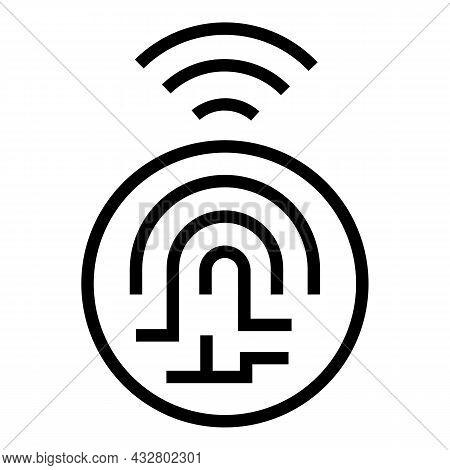 Digital Fingerprint Icon Outline Vector. Biometric Identity. Finger Thumb