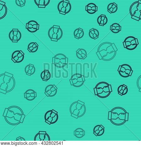 Black Line Old Hourglass With Flowing Sand Icon Isolated Seamless Pattern On Green Background. Sand