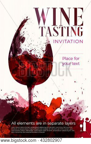 Silhouette Of Wine Glass On Watercolor Splashes Background - Poster Or Card Template With Copy Space