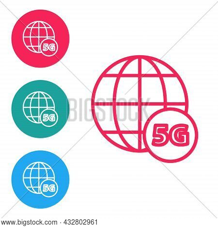 Red Line 5g New Wireless Internet Wifi Connection Icon Isolated On White Background. Global Network