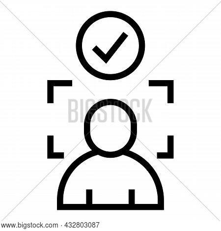 Face Detection Icon Outline Vector. Biometric Detect. Scan Fingerprint