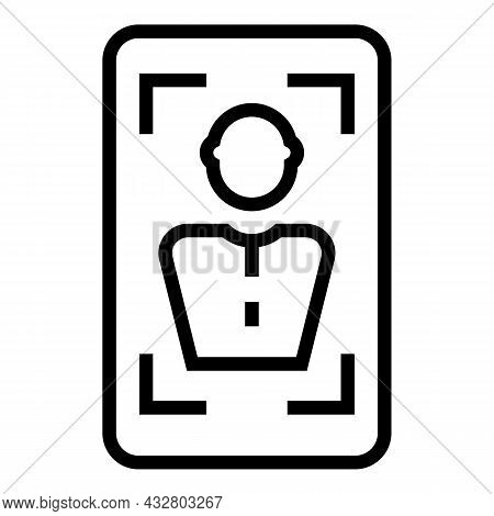 Face Authorization Icon Outline Vector. Biometric Recognition. Identity Verification