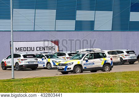 Riga, Latvia, June 01, 2021: New Painting Design Of Latvian State Police Cars, The New Visual Identi