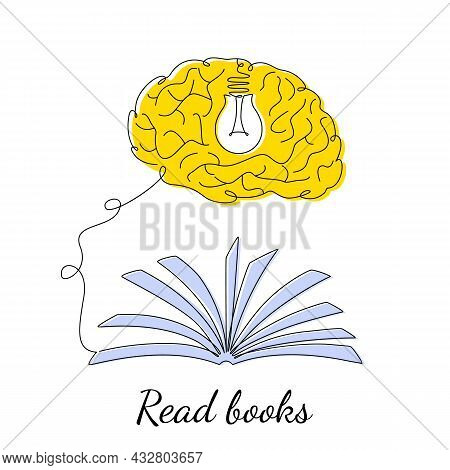 The Human Brain Receives Knowledge And Information Through A Book And Turns On The Light Bulb Of Con