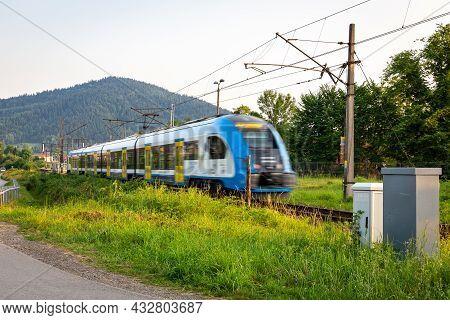Milowka, Poland, 08.07.2021. Silesian Railways (koleje Slaskie) Regional Service Modern Train Arrivi