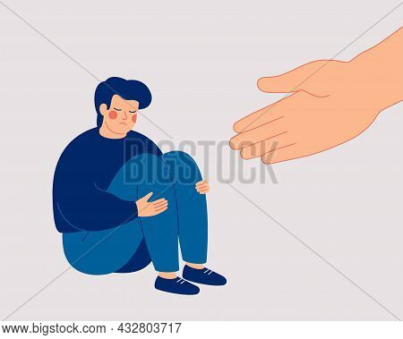 Human Hand Helps A Sad Young Man To Get Rid Of Anxiety. The Counselor Supports The Boy With Psycholo