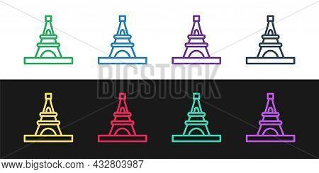 Set Line Eiffel Tower Icon Isolated On Black And White Background. France Paris Landmark Symbol. Vec