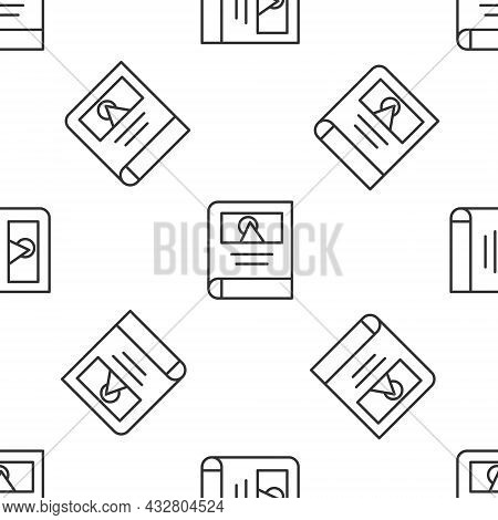 Grey Line Photo Album Gallery Icon Isolated Seamless Pattern On White Background. Vector