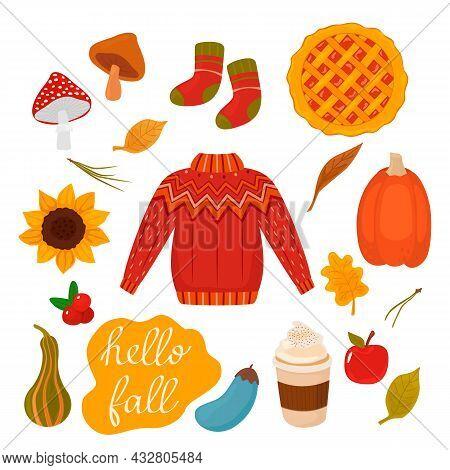 A Set Of Autumn Icons - Pumpkin, Pumpkin Pie, Berries, Mushrooms, Knitted Woolen Sweater, Sunflower,